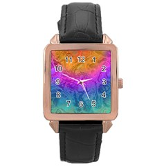 Fractal Batik Art Hippie Rainboe Colors 1 Rose Gold Leather Watch  by EDDArt