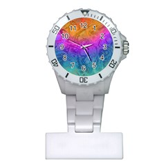 Fractal Batik Art Hippie Rainboe Colors 1 Plastic Nurses Watch by EDDArt