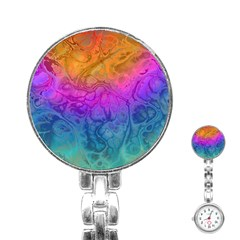 Fractal Batik Art Hippie Rainboe Colors 1 Stainless Steel Nurses Watch by EDDArt