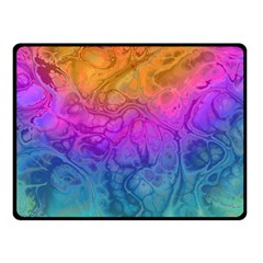 Fractal Batik Art Hippie Rainboe Colors 1 Double Sided Fleece Blanket (small)
