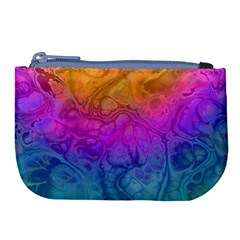 Fractal Batik Art Hippie Rainboe Colors 1 Large Coin Purse by EDDArt