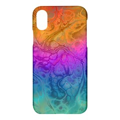 Fractal Batik Art Hippie Rainboe Colors 1 Apple Iphone X Hardshell Case by EDDArt