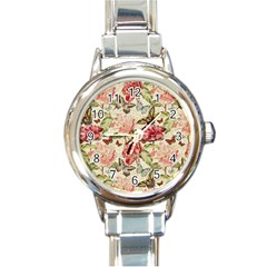 Watercolor Vintage Flowers Butterflies Lace 1 Round Italian Charm Watch by EDDArt
