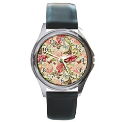 Watercolor Vintage Flowers Butterflies Lace 1 Round Metal Watch by EDDArt