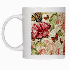Watercolor Vintage Flowers Butterflies Lace 1 White Mugs by EDDArt