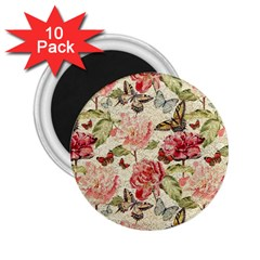 Watercolor Vintage Flowers Butterflies Lace 1 2 25  Magnets (10 Pack)  by EDDArt