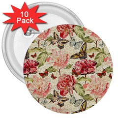 Watercolor Vintage Flowers Butterflies Lace 1 3  Buttons (10 Pack)  by EDDArt