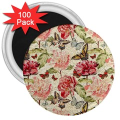 Watercolor Vintage Flowers Butterflies Lace 1 3  Magnets (100 Pack) by EDDArt