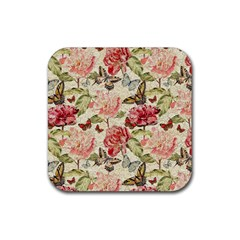 Watercolor Vintage Flowers Butterflies Lace 1 Rubber Square Coaster (4 Pack)  by EDDArt