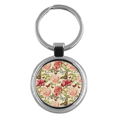 Watercolor Vintage Flowers Butterflies Lace 1 Key Chains (round)  by EDDArt
