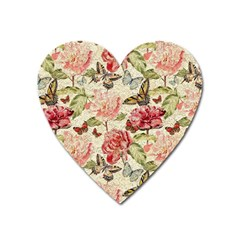 Watercolor Vintage Flowers Butterflies Lace 1 Heart Magnet by EDDArt