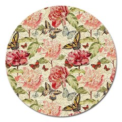 Watercolor Vintage Flowers Butterflies Lace 1 Magnet 5  (round) by EDDArt