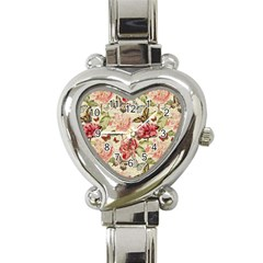 Watercolor Vintage Flowers Butterflies Lace 1 Heart Italian Charm Watch by EDDArt