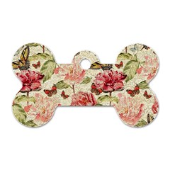 Watercolor Vintage Flowers Butterflies Lace 1 Dog Tag Bone (one Side) by EDDArt