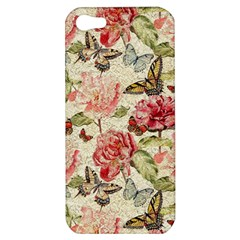 Watercolor Vintage Flowers Butterflies Lace 1 Apple Iphone 5 Hardshell Case by EDDArt
