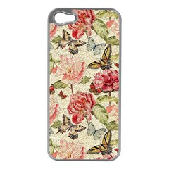 Watercolor Vintage Flowers Butterflies Lace 1 Apple Iphone 5 Case (silver) by EDDArt