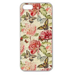 Watercolor Vintage Flowers Butterflies Lace 1 Apple Seamless Iphone 5 Case (clear) by EDDArt