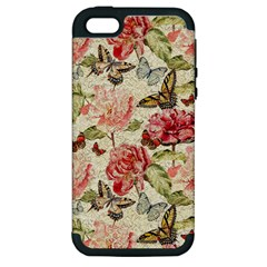Watercolor Vintage Flowers Butterflies Lace 1 Apple Iphone 5 Hardshell Case (pc+silicone) by EDDArt