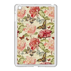 Watercolor Vintage Flowers Butterflies Lace 1 Apple Ipad Mini Case (white) by EDDArt