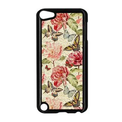 Watercolor Vintage Flowers Butterflies Lace 1 Apple Ipod Touch 5 Case (black) by EDDArt
