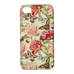 Watercolor Vintage Flowers Butterflies Lace 1 Apple Iphone 4/4s Hardshell Case With Stand by EDDArt