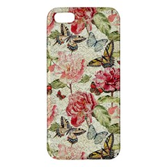 Watercolor Vintage Flowers Butterflies Lace 1 Apple Iphone 5 Premium Hardshell Case by EDDArt