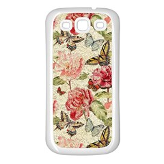 Watercolor Vintage Flowers Butterflies Lace 1 Samsung Galaxy S3 Back Case (white) by EDDArt