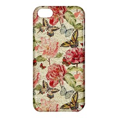 Watercolor Vintage Flowers Butterflies Lace 1 Apple Iphone 5c Hardshell Case by EDDArt