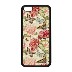 Watercolor Vintage Flowers Butterflies Lace 1 Apple Iphone 5c Seamless Case (black) by EDDArt