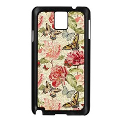 Watercolor Vintage Flowers Butterflies Lace 1 Samsung Galaxy Note 3 N9005 Case (black) by EDDArt