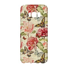 Watercolor Vintage Flowers Butterflies Lace 1 Samsung Galaxy S8 Hardshell Case  by EDDArt