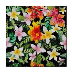 Tropical Flowers Butterflies 1 Tile Coasters by EDDArt