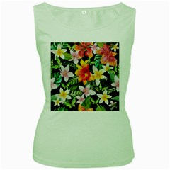 Tropical Flowers Butterflies 1 Women s Green Tank Top by EDDArt