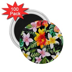 Tropical Flowers Butterflies 1 2 25  Magnets (100 Pack)  by EDDArt