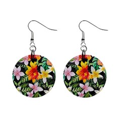Tropical Flowers Butterflies 1 Mini Button Earrings by EDDArt