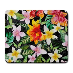 Tropical Flowers Butterflies 1 Large Mousepads by EDDArt