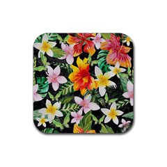Tropical Flowers Butterflies 1 Rubber Coaster (square)  by EDDArt