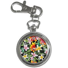 Tropical Flowers Butterflies 1 Key Chain Watches by EDDArt