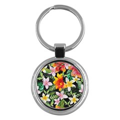 Tropical Flowers Butterflies 1 Key Chains (round)  by EDDArt
