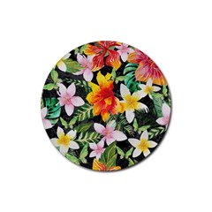 Tropical Flowers Butterflies 1 Rubber Coaster (round)  by EDDArt