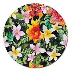 Tropical Flowers Butterflies 1 Magnet 5  (round) by EDDArt