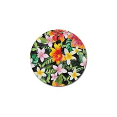 Tropical Flowers Butterflies 1 Golf Ball Marker by EDDArt