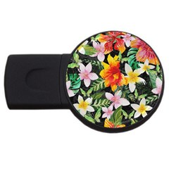 Tropical Flowers Butterflies 1 Usb Flash Drive Round (2 Gb) by EDDArt