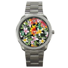 Tropical Flowers Butterflies 1 Sport Metal Watch by EDDArt