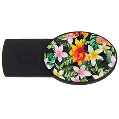 Tropical Flowers Butterflies 1 Usb Flash Drive Oval (4 Gb) by EDDArt