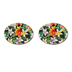 Tropical Flowers Butterflies 1 Cufflinks (oval) by EDDArt