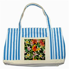 Tropical Flowers Butterflies 1 Striped Blue Tote Bag by EDDArt
