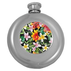 Tropical Flowers Butterflies 1 Round Hip Flask (5 Oz) by EDDArt