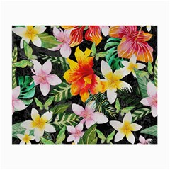 Tropical Flowers Butterflies 1 Small Glasses Cloth (2 Side) by EDDArt