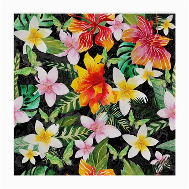 Tropical Flowers Butterflies 1 Medium Glasses Cloth